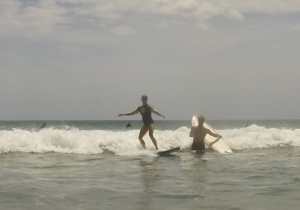 me and sam surfing costa rica